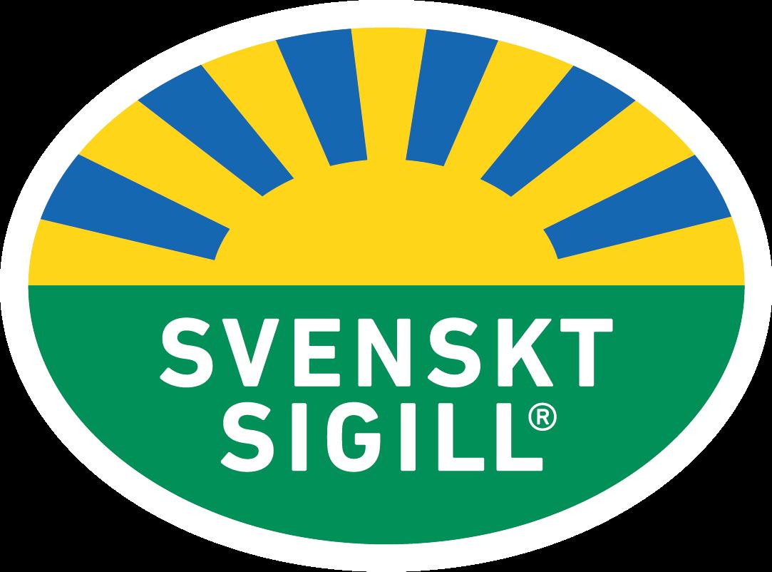 Svenkt Sigill märke med en sol, grön åker och texten svenskt sigill. Finns på alla Estrellas Västkustchips
