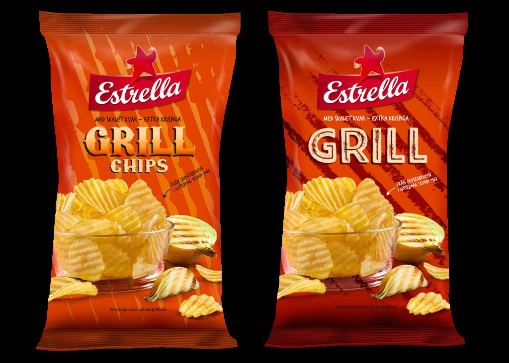 En bild på den gamla designen för grillchips och den nya designen för grillchips