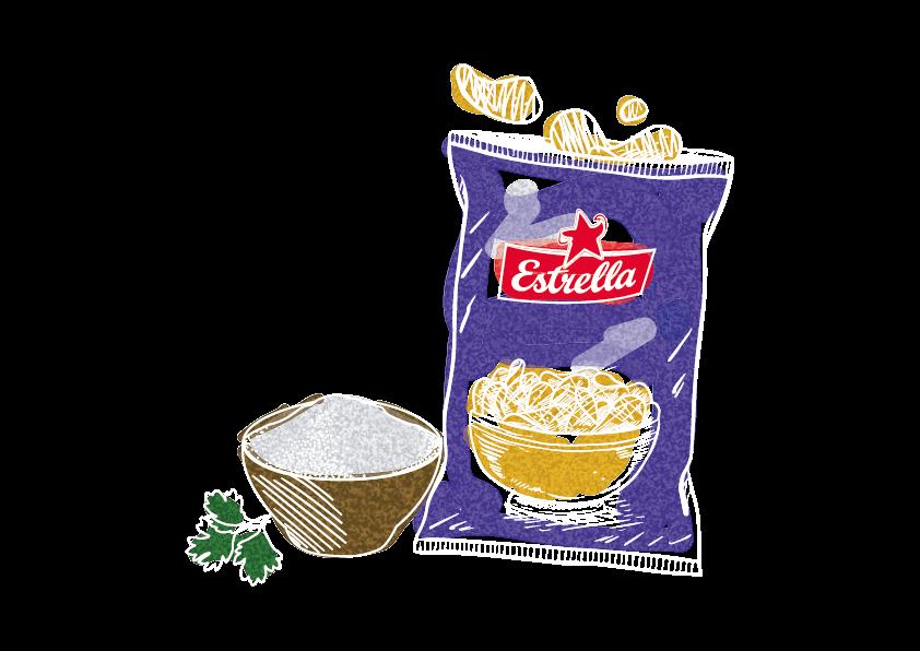 En tecknad bild på en påse sourcream & onion chips, bredvid står en skål med krydda och en kvist persilja