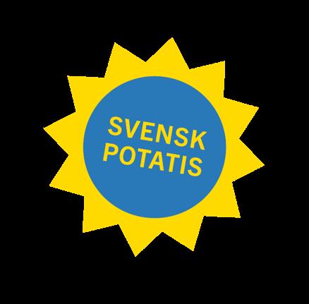 En sol i gul och blå med texten